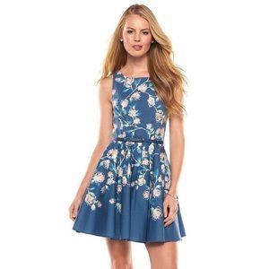 Lauren Conrad periwinkle floral fit/flare dress